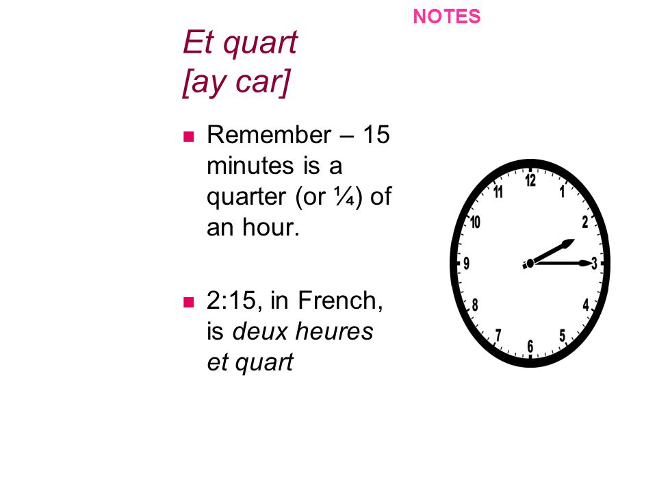 NOTES Et quart [ay car] Remember – 15 minutes is a quarter (or ¼) of an hour.